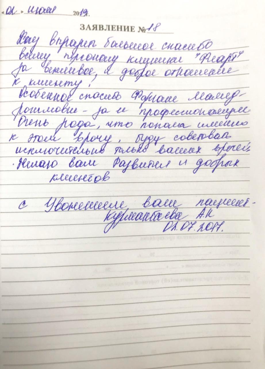 <em>Редактировать Отзыв</em> Альфия . Стоматология Фларт