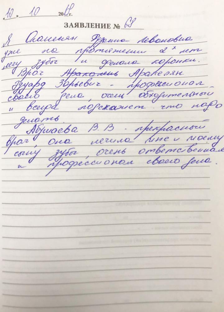 <em>Редактировать Отзыв</em> Рузанна. Стоматология Фларт
